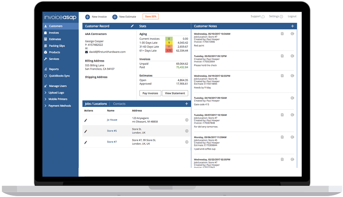 mobile invoicing and payments works with quickbooks invoiceasap