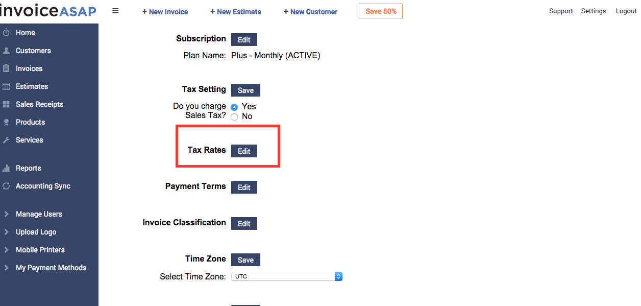 How To Add And Edit Custom Taxes - Invoice asap